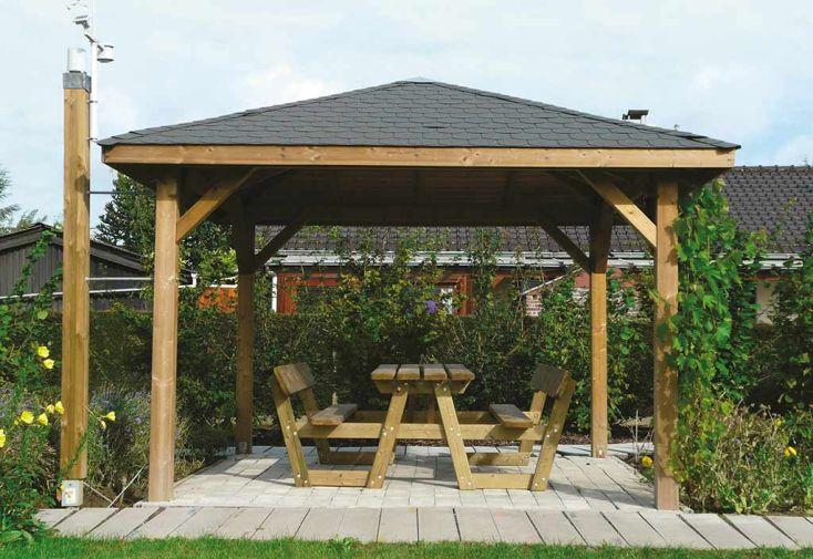 Tonnelle kiosque en bois autoclave 347x347cm solid for Abri de jardin traite autoclave