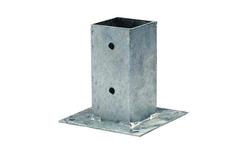 kit d'ancrage à visser au sol en acier galvanisé 7 x 7 cm