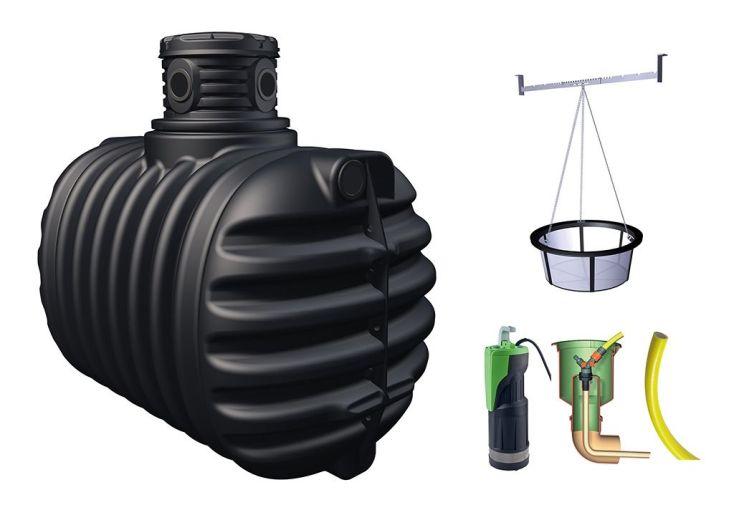 kit de récupération d'eau de pluie pour jardin avec cuve PE 2650 L