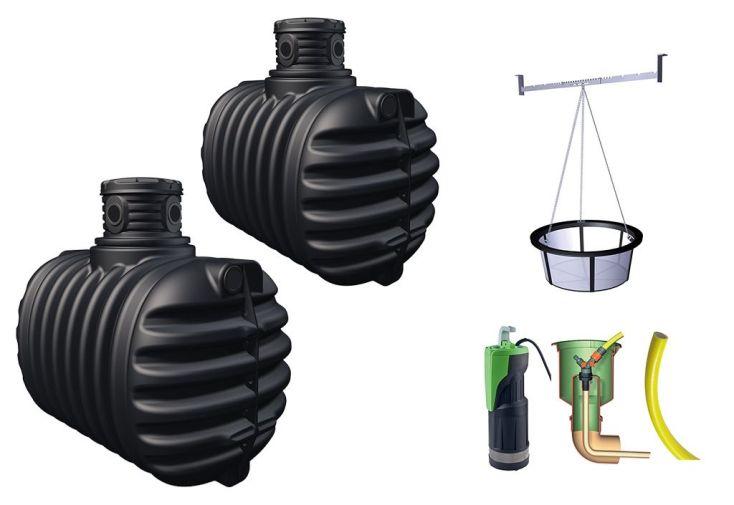 kit de récupération d'eau de pluie avec cuve à enterrer pour jardin