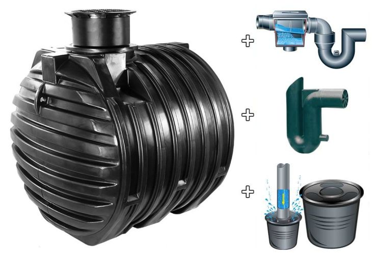 Kit cuve recuperateur eau enterree 6000 L