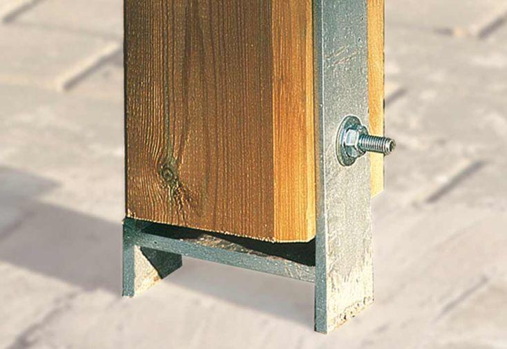 Kit ancrage en H pour carport attenant taille 1 et 2 (3 ancrages 9x9)