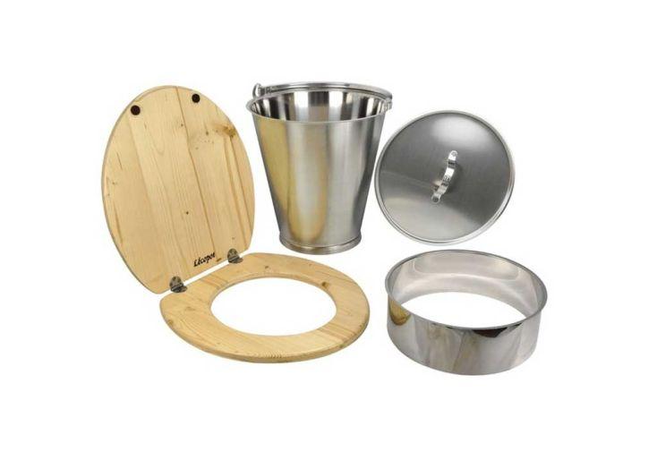 Kit de fabrication toilettes sèches avec seau en inox 15 L Lécopot