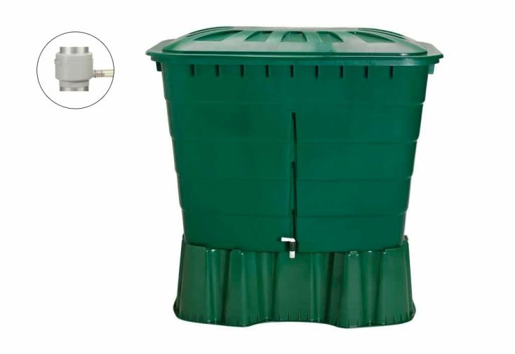 Cuve r cup ration d 39 eau pluie rect graf 520 l vert garantia - Cuve recuperation d eau ...