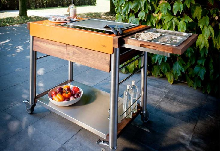Cuisine d 39 ext rieur modulable bois et inox serveboy unico indu - Cuisine modulable ...