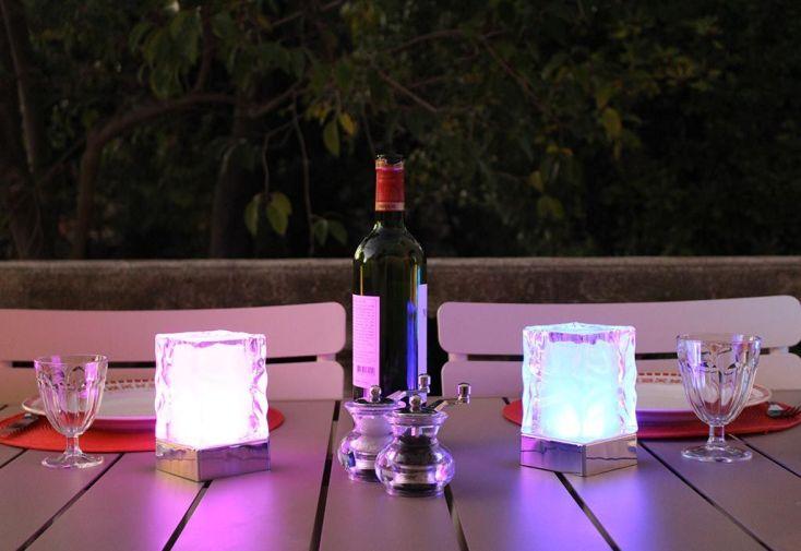 Lampes de Table Multicolores Autonomes Glaçons Martelés - Lot de 2