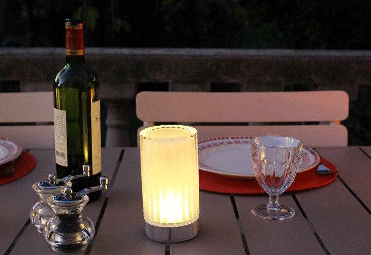 Lampes de Table Blanches Autonomes Tubes Striés - Lot de 2