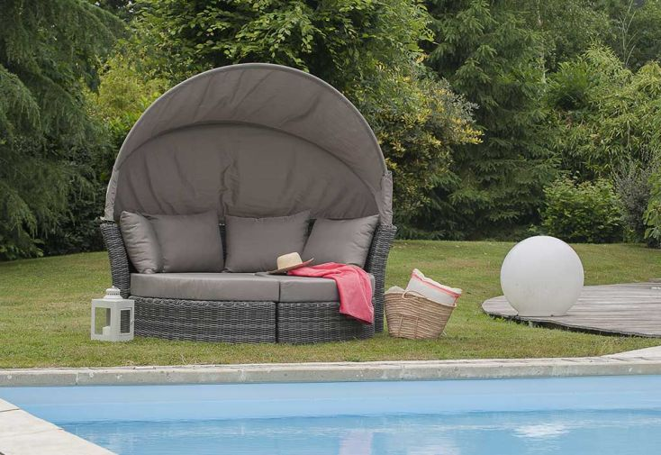 lit rond d 39 ext rieur en r sine tress e 1 canap 2. Black Bedroom Furniture Sets. Home Design Ideas