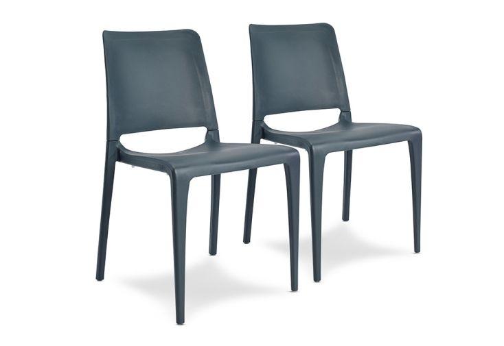 Lot de 2 chaises de jardin empilables en polypropylène Hall anthracite