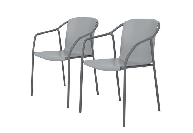 Lot de 2 fauteuils d'extérieur en aluminium et polypropylène Rod bleu