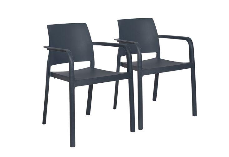 Lot de 2 fauteuils de jardin empilables en polypropylène Dock anthracite