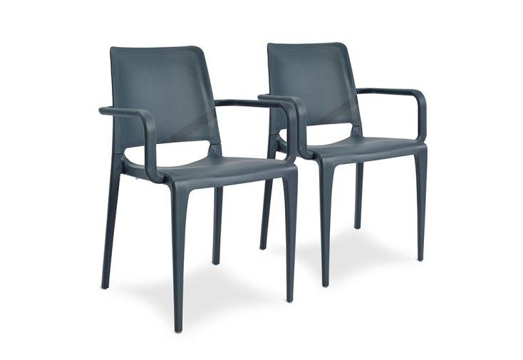 Lot de 2 fauteuils de jardin empilables en polypropylène Hall gris