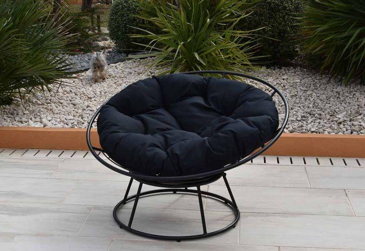 Fauteuil loveuse de jardin en métal et polyester Galaxy anthracite