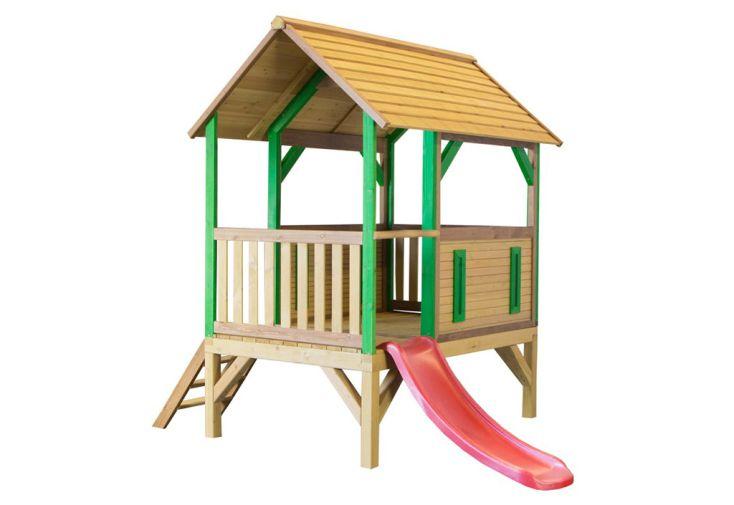 maisonnette en bois avec toboggan en plastique rouge axi akela