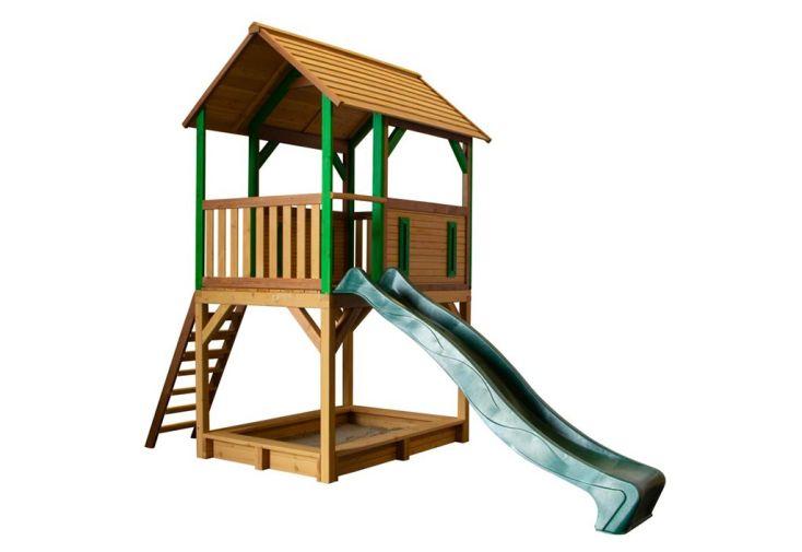 maisonnette en bois de hemlock pour jardin avec toboggan et bac à sable