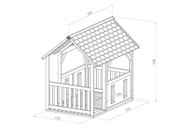 dimensions de la cabane en bois forest 118 x 172 x 177 cm