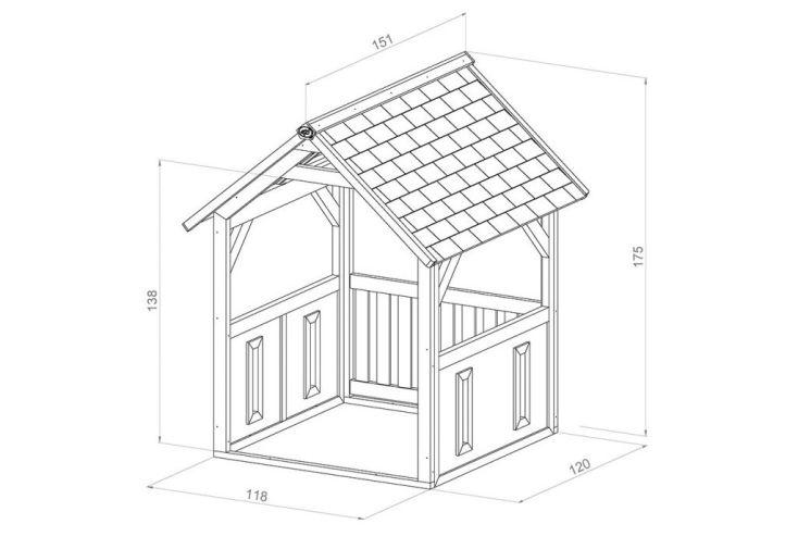 dimensions de la cabane jane 120 x 118 x 167 cm