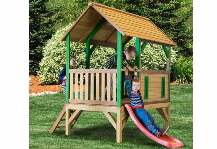 maison enfant bois cabane toboggan akela axi. Black Bedroom Furniture Sets. Home Design Ideas