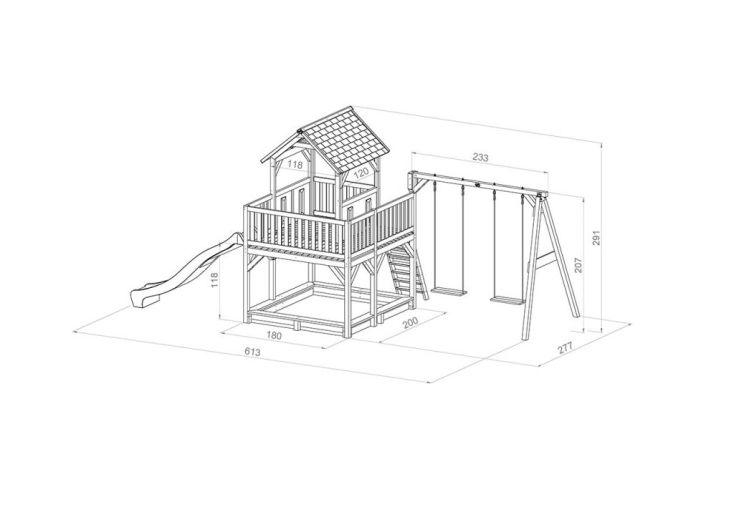 dimensions de l'aire de jeux Atka 2 balançoires : 270 x 590 x 305 cm