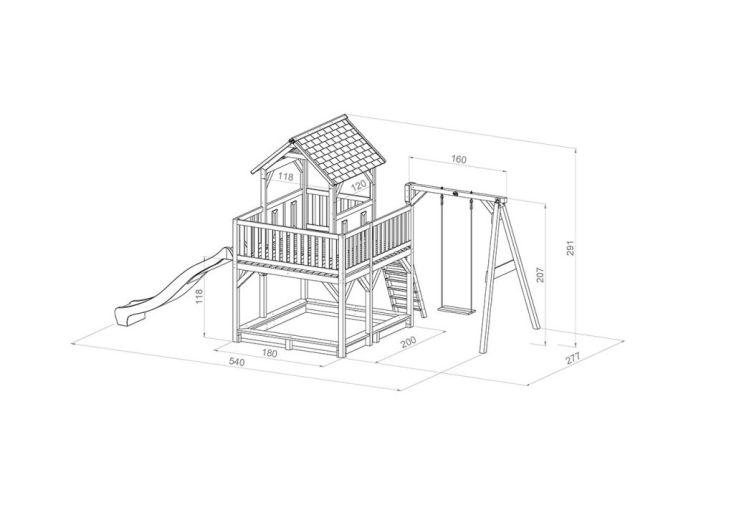 dimensions de l'aire de jeux Atka 1 balançoire : 515 x 270 x 305 cm