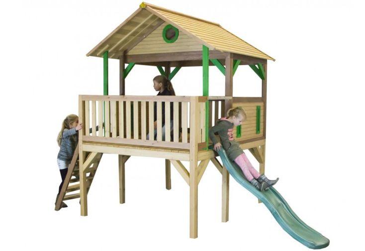 Maison enfant bois cabane toboggan baloo axi - Maison enfant avec toboggan ...