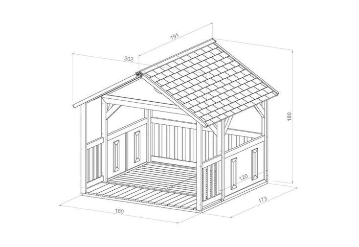 dimensions de la maison d'enfants Zazou Axi : 173 x 180 x 175 cm