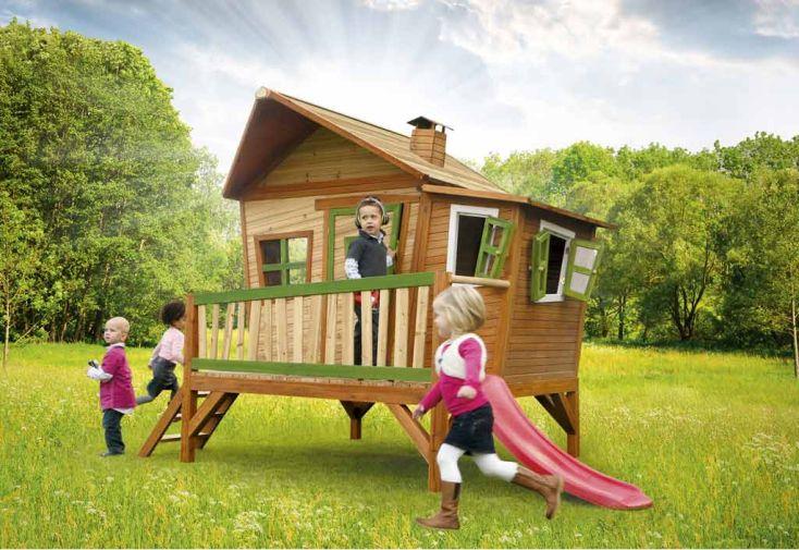 cabane pour enfant aire de jeux en bois avec toboggan dès 3 ans