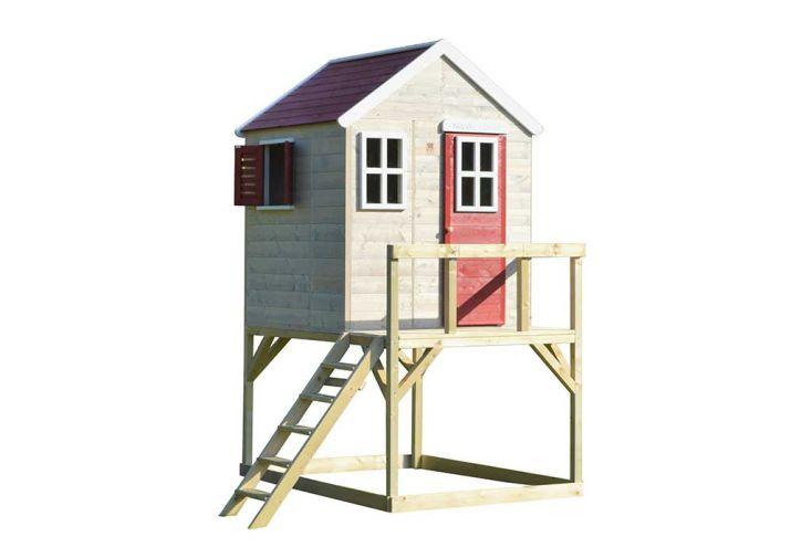 Maisonnette pour enfant en bois traité cabane sur pilotis Wendi Toys Cigogne