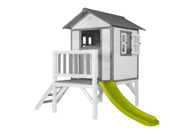 Maisonnette en bois de hemlock Sunny Lodge XL blanc et gris