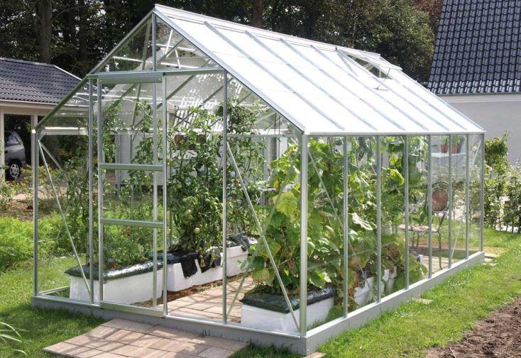 serre de jardin en verre trempé merkur avec porte coulissante
