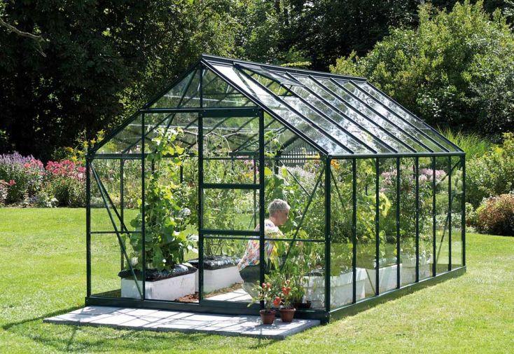 Serre de jardin en verre laqué vert MERKUR 6700 Néotine