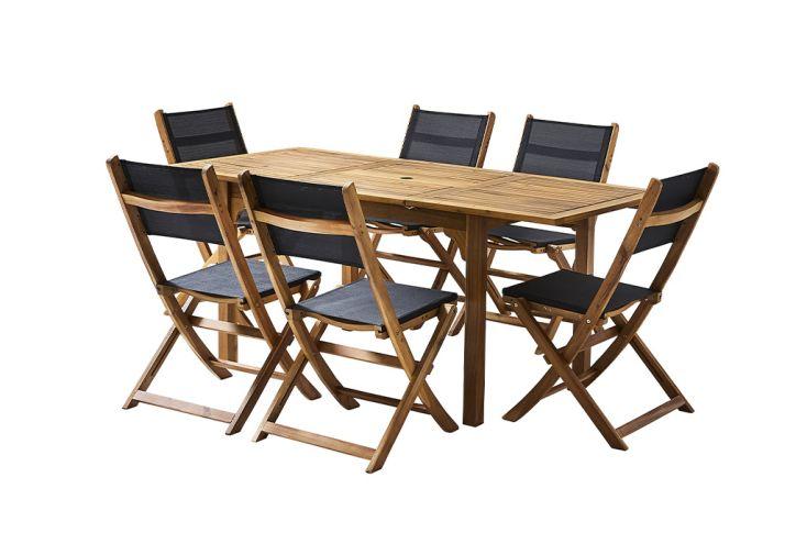 Ensemble de mobilier en bois d'acacia et textilène noir