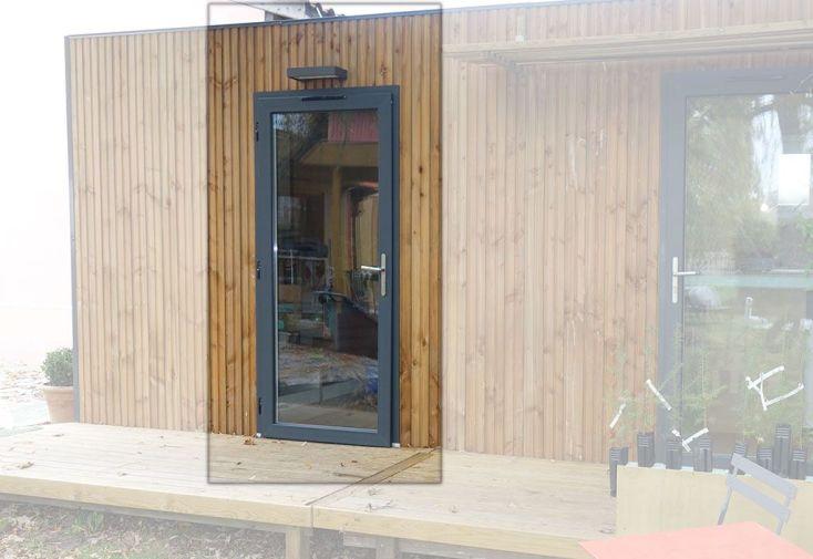 Panneau en Bois avec Porte Vitrée 120 x 230 cm (l,h) pour Bungalow