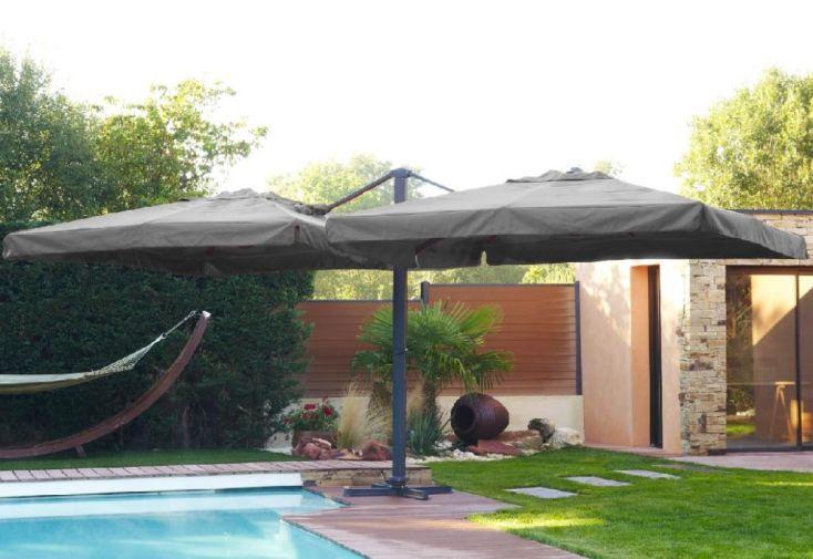 Parasol Double Déporté en Aluminium et Polyester Gris