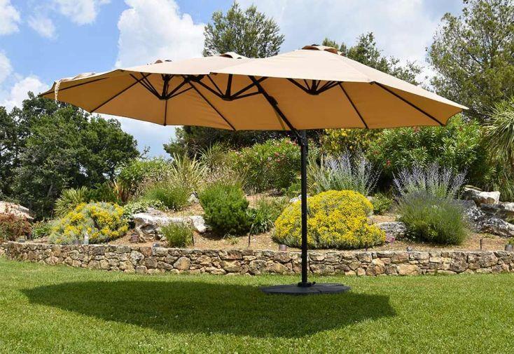 parasol en aluminium et toile polyester déporté 3 têtes