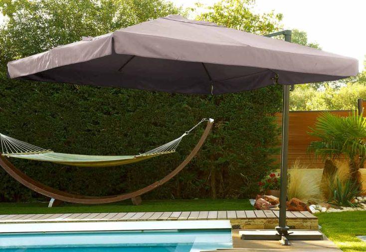 parasol d port carr 3x3 alu parasol aluminium carr avec pied excentr 3x3 m coloris noir. Black Bedroom Furniture Sets. Home Design Ideas