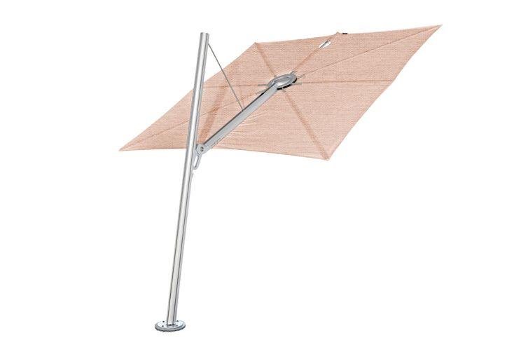 Parasol déporté mât incliné alu toile rose Spectra Umbrosa 250 cm