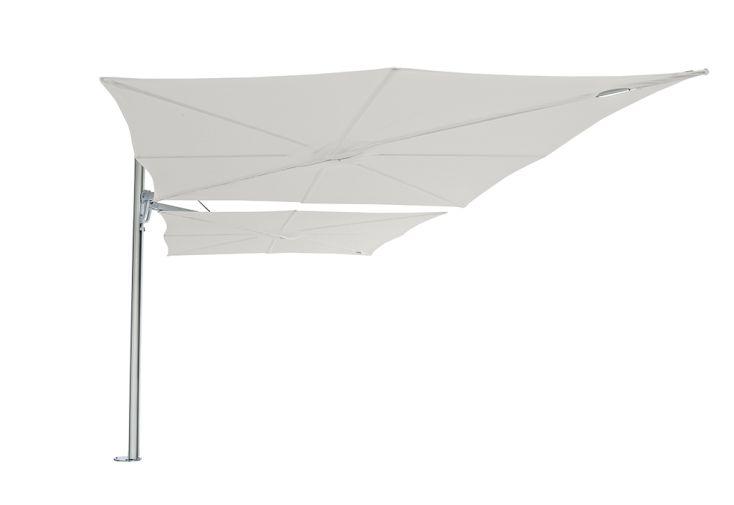 Double parasol déporté mât aluminium toiles blanches Spectra Duo Umbrosa 250 cm