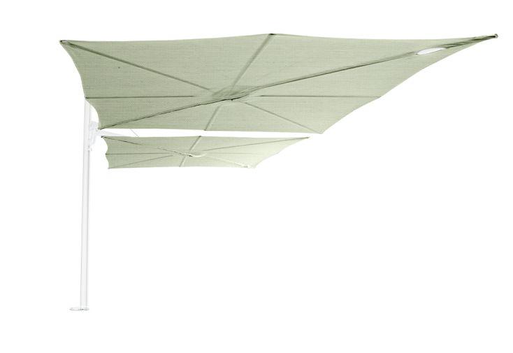 Double parasol déporté mât blanc toiles vertes Spectra Duo Umbrosa 250 cm