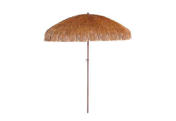 Parasol droit en acier imitation bois Manila ⌀ 200 cm