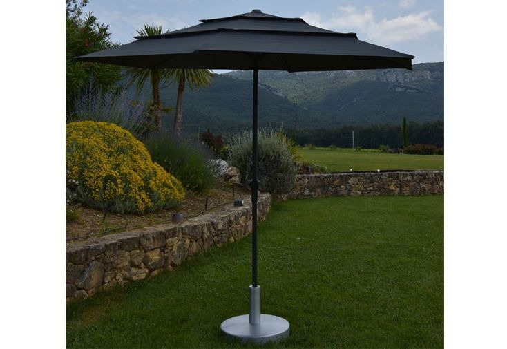 Parasol droit en aluminium avec toile ronde grise et manivelle