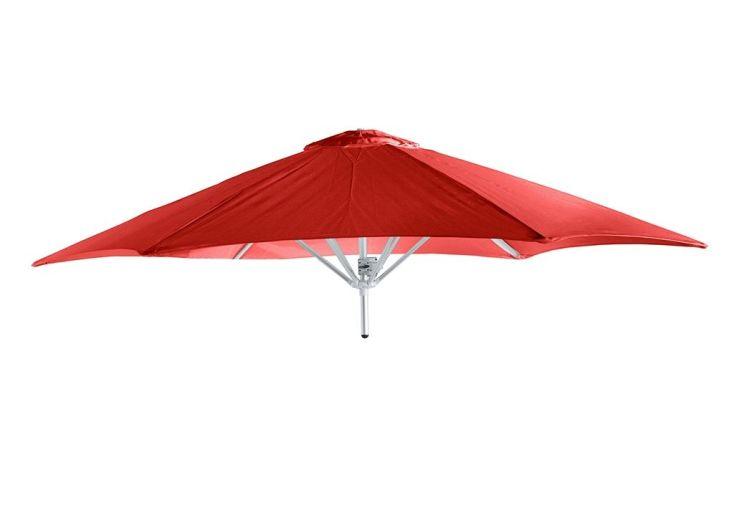 parasol rond avec armature en aluminium toile acrylique rouge
