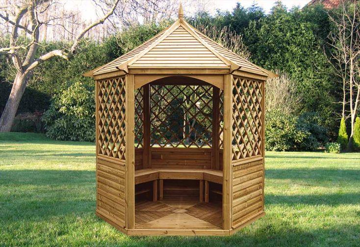 Pavillon Hexagonal Élégant avec Toit en Bois