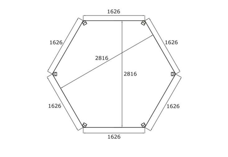 Dimensions Intérieures et côtés du Kiosque Hexagonal