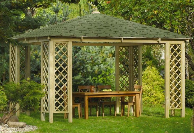 Pavillon de Jardin en Bois Traité avec Toit en Shingle 12 m²