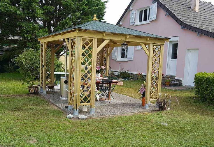 Pavillon de Jardin en Bois Traité avec Toit en Shingle 16 m² - Jagram