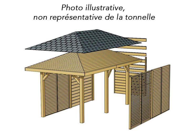 Tonnelle kiosque en bois autoclave 629x347cm solid for Balancelle jardin belgique