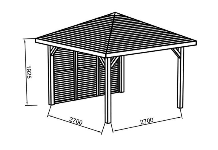 Pavillon en Bois Traité Autoclave (347x347cm)