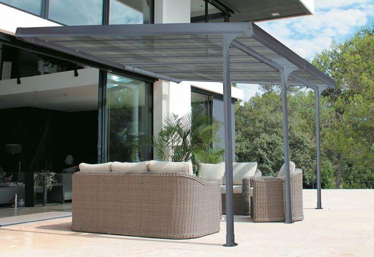 Pergola en aluminium et polycarbonate 12 m² Tonnelle adossée 3 x 4 m