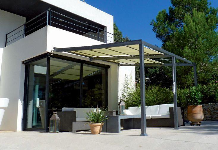 Pergola Adossée Modulable en Aluminium avec Stores Couleurs du Monde Philadelphia 14 m²